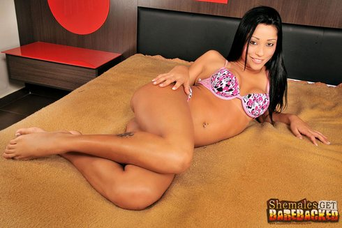 Horny shemale virgin Yasmin Pires gets takes dick bareback